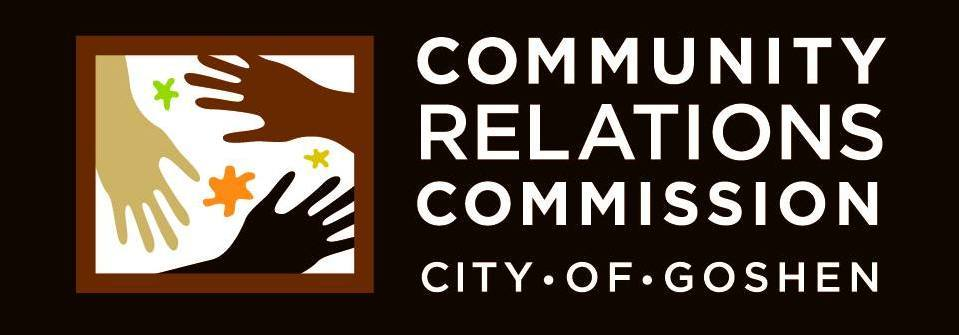 Logo for the CRC, depicting illustration of three hands, flowers. Logo reads Community Relations Commission City of Goshen