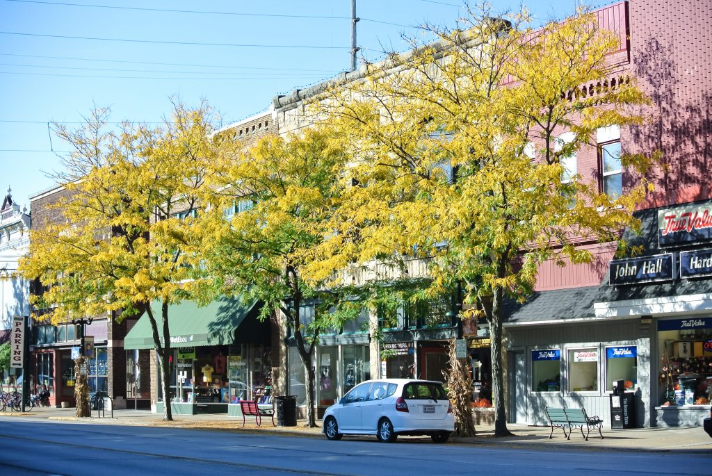 Street, yellow trees, storefronts along Main Street.