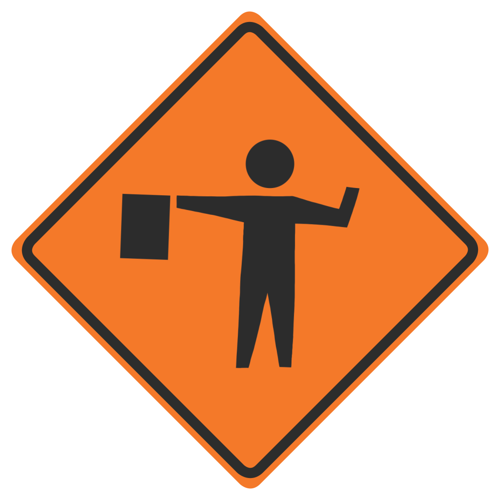 Graphic: Construction sign of a construction worker with a flag.