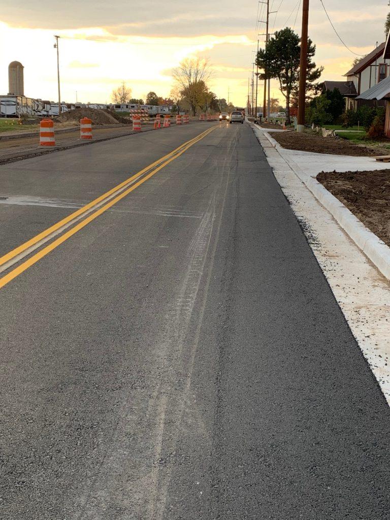 Roadway, traffic cones