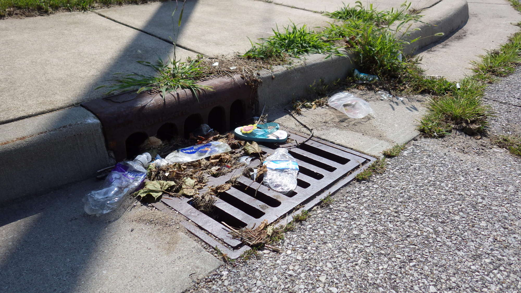 A neighborhood storm drain and litter that has been washed to it.